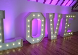 5ft Light up LOVE letter hire at skylarks hampshire