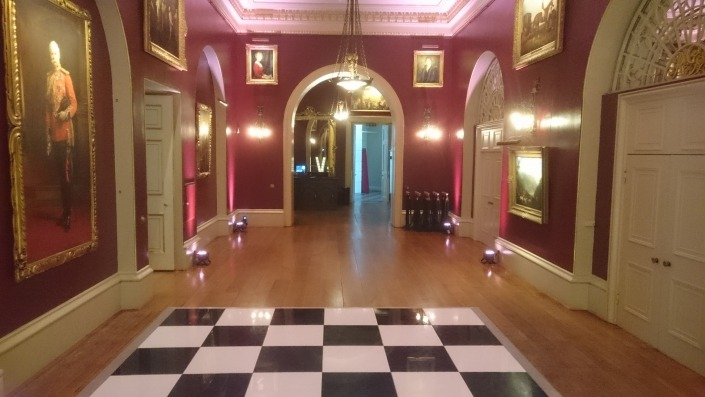 Goodwood House Black White Floor with Uplighters