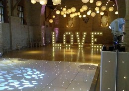 White LED Dancefloor 5ft Love Uplighters DJ Equipment Tithe Barn Petersfield