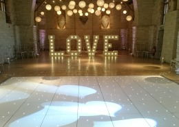 5ft LOVE White LED Dancefloor Paper Lanterns and Uplighters Tithe Barn