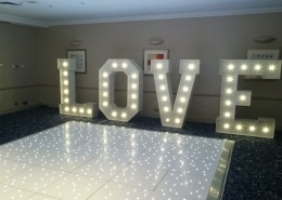 5ft LOVE and white led dancefloor at solent hotel and spa