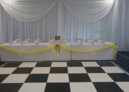 black and white dancefloorand backdrop at Botley Grange Hotel
