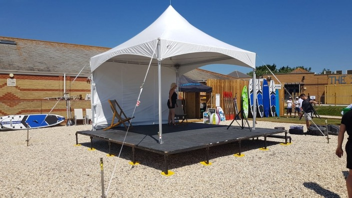4m pagoda stage set on beach at weymouth