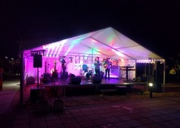 9m marquee end stage deck with sound lighting and band 1