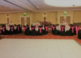 White LED Dancefloor Black Chair Cover Pink Sash Marriott Portsmouth