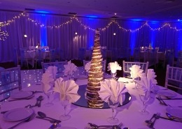 winter wonderland christmas parties at the portsmouth marriott backdrop light up trees and full room drape