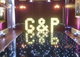 G P Light Up Individual Letter Black LED Dancefloor Goodwood House e1544710320126