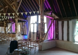 Uplighters bunting and fairylights at clock barn tufton warren