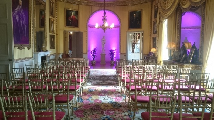 purple uplighters at goodwood house