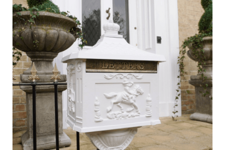 white floorstanding postbox