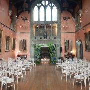 cowdray house standard white festoons chiavari chairs ceremony warm white uplighters