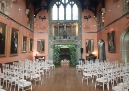 cowdray house standard white festoons chiavari chairs ceremony warm white uplighters