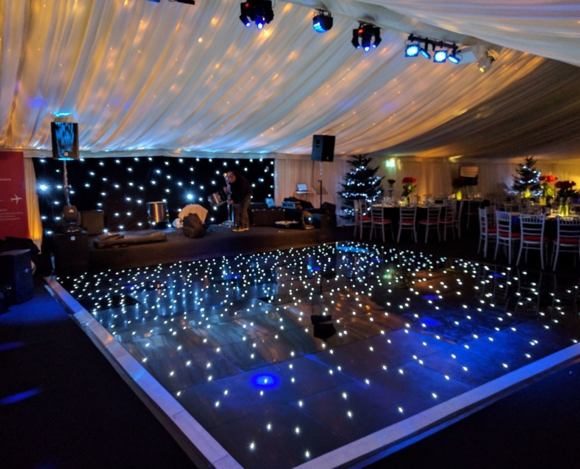 black led dancefloor hire at marquee in southampton